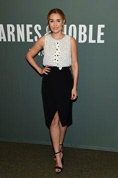 Lauren wearing Paper Crown top on her book tour!
