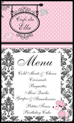 The Scrapbooking Housewife: French Pink Poodle Paris 8th Birthday - menu