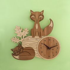 Fox Log Wooden Clock - Who wants a boring old wall clock when you can have these beautifully handcrafted and adorable foxes on your wall to tell you the time?