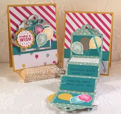 Accordion Moving Card Fold using Stampin' Up! Balloon Builders, Party Wishes & Party With Cake. Debbie Henderson, Debbie's Designs.