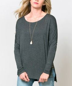 Charcoal Olympia Zipper Tunic #zulily #zulilyfinds