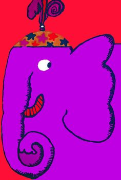 Wall Decor Poster Fine Graphic Art Design Purple Circus Elephant Room Art 281 | eBay