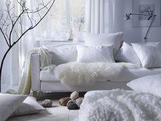 A winter white living room Liatorp, Ikea Deco, Cama Ikea, Home Interior, Interior Design, White Wall Decor, Decoration Inspiration, Trendy Home, Ikea Furniture