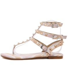 Pink Studded Strappy Sandals ($30) ❤ liked on Polyvore featuring shoes, sandals, pink, peep toe platform sandals, low heel sandals, strappy sandals, studded sandals and pink shoes