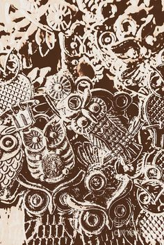 Vintage sepia artwork on classic metal owl charms in interesting abstract design. Birds from the old world by Jorgo Photography - Wall Art Gallery