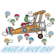 Have A Nice Day - Snoopy in WWI Plane With Woodstock and Friends Parachuting Out