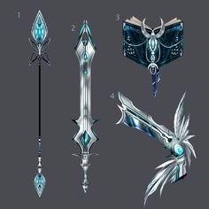 Ice Warrior Weapons set: Magical Ice Lance, Magical Ice Sword, Frozen Shards Pistols, and a magic book full of magical, and powerful ice spells. Fantasy Sword, Fantasy Weapons, Fantasy Art, Les Lolirock, Magia Elemental, Armas Ninja, Arte Fashion, Anime Weapons, Weapon Concept Art