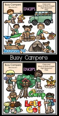 Busy Campers Clip Art Bundle from Educlips on TeachersNotebook.com -  (28 pages)  - Busy Campers Clip Art Bundle