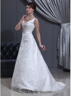 Wedding Dresses - $217.99 - A-Line/Princess V-neck Sweep Train Satin Lace Wedding Dress With Beading  http://www.dressfirst.com/A-Line-Princess-V-Neck-Sweep-Train-Satin-Lace-Wedding-Dress-With-Beading-002012800-g12800