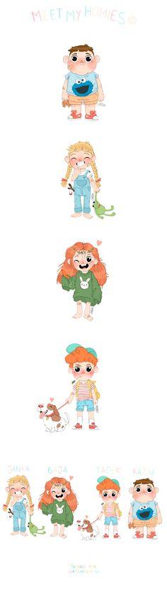 """Meet my homies"" -  kids character design & illustration"