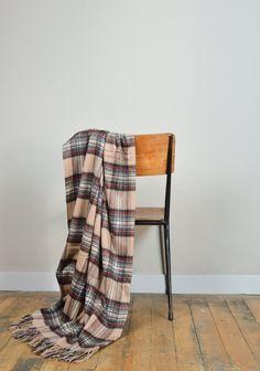 Classic Cashmere Blanket in Camel Stewart Tartan  | The Tartan Blanket Co.