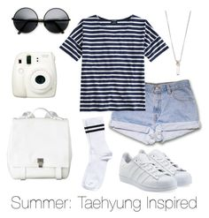 """""""Summer: Taehyung Inspired"""" by btsoutfits ❤ liked on Polyvore featuring adidas Originals, Proenza Schouler, Fujifilm, Chan Luu, Saint James and Pieces"""