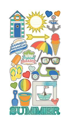 Simple Stories SUMMER PARADISE Collection FUNDAMENTALS Cardstock, Stickers Discontinued and Hard to Find by SeptemberPlayground on Etsy