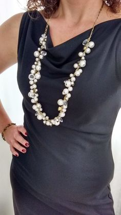 Pearl + Crystal Drops Long Necklace   Chloe + Isabel