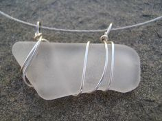 necklace, wrapped, polished beach, sea glass, wire