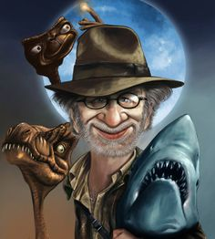 Steven Spielberg  right next to some of his most famous characters