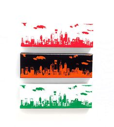 Philadelphia Skyline II Canvas Sports Trio Edition by iNKthePRINT, $81.00 #philadelphia #philly #wallart #homedecor #phillysports #sports #philadelphiasports #painting #eagles #phillies #flyers #philadelphiaskyline #etsy #inktheprint