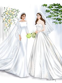 Meghan Markle and Kate Middleton in Wedding Dresses | Illustrated by Draw A Story