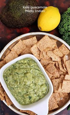 Kale guacamole is the simplest way to hidden kale. With the flavour of tasty guac, a platter with chips and salsa is the perfect converstion starter. Appetizer Recipes, Appetizers, Mediterranean Spices, Chips And Salsa, Guacamole Recipe, Kale Salad, Summer Recipes, Starters, Platter
