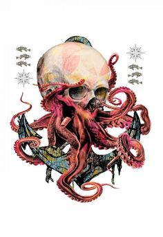 Camiseta Masculina Caveira Tentáculos