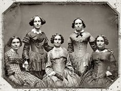 1850 Dag of the Clark Sisters, All have white collar, stiff looking corsets!!!