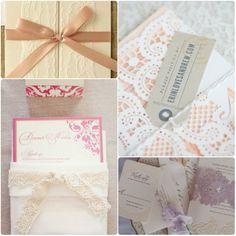 Süß Spitze Hochzeit Einladungen Pink