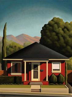Canvassing a Red House by R. Kenton Nelson