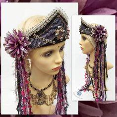 Tribal Fusion Headdress - Festival Crown - Fairy Headdress #FairyHeadpiece #FantasyHeaddress #TribalBellyDance #FestivalCrown #kokoshnik #BurningManCostume Belly Dance Belt, Tribal Belly Dance, Steampunk Clothing, Steampunk Fashion, Gothic Fashion, Gothic Corset, Gothic Steampunk, Victorian Gothic, Gothic Lolita