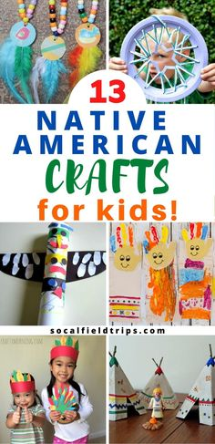 Are you learning about Native American History? Then check out this list of 13 Indian Crafts for Kids including Indian headbands, teepees, drums and more. Preschool Crafts, Toddler Activities, Preschool Activities, Physical Activities, Craft Projects For Kids, Easy Crafts For Kids, Art Projects, Native American Crafts, American Indians