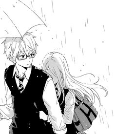 If you need help getting through the rain of life I always have space for you under my umbrella :) Chica Anime Manga, Anime Kawaii, Manga Love, Anime Love, Manga Drawing, Manga Art, Anime Girlfriend, Manhwa, Hibi Chouchou