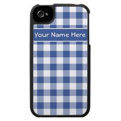 Custom iPhone 4 Speck Case, Dark Blue Gingham