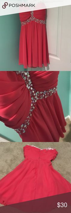 Formal Dress Coral formal dress! Worn once. Size 3/4. Jeweled B. Darlin Dresses Strapless