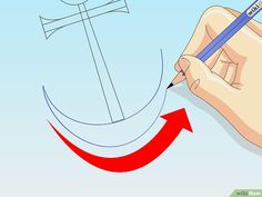 How to Draw an Anchor: 8 Steps (with Pictures) - wikiHow Beginner Painting, Diy Painting, Kitchen Sign Diy, Anchor Clip Art, Origami Hat, Anchor Drawings, Small Circle, Inner Circle, Lighthouse Painting