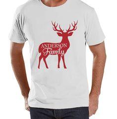 Family Reindeer Shirt - Winter Christmas Tee - Men's Christmas T-Shirt - Men's White T Shirt - Family Shirts - Custom Family Outfits