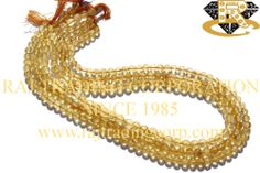 Citrine Smooth Round (Quality C) Shape: Round Smooth Length: 36 cm Weight Approx: 12 to 14 Grms. Size Approx: 4.50 to 5.50 mm Price $2.70 Each Strand