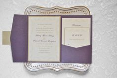 Purple wedding invitation flourish Pocketfold by MadebyHandInvites, $5.95