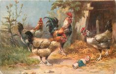 three hens & rooster encounter broken doll