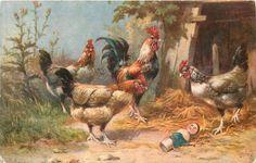 three hens & rooster encounter broken doll