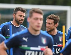Claudio Marchisio (R) and Andrea Barzagli of Italy in action during the training session at Coverciano on June 05, 2017 in Florence, Italy.