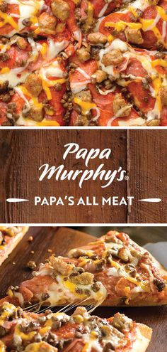 Enjoy the ultimate pizza for meat lovers – Papa's All Meat. Topped with Canadian bacon, salami, pepperoni, sausage and ground beef, it's the makings of a perfect family meal. Canadian Bacon, I Have Done, Meat Lovers, Menu Items, Grubs, Pepperoni, Ground Beef, Family Meals, Sausage
