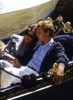 Princess Caroline of Monaco and her husband Stefano Casiraghi enjoy a gondola ride in Venice. They are among the celebrities attending the 42nd Venice Film Festival. September 4, 1985.