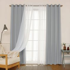Shop for Aurora Home MIX & MATCH CURTAINS Blackout and Muji Sheer 84 inch Silver Grommet 4 piece Curtain Panel Pair 52 x Get free delivery at Overstock Your Online Home Decor Outlet Store! Get in rewards with Club O! Home Curtains, Curtains Living, Grommet Curtains, Blackout Curtains, Window Curtains, Curtain Panels, Bedroom Drapes, Curtains With Sheers, Bedroom Windows