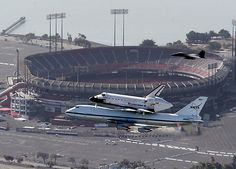 Endeavour's final flight  The space shuttle Endeavour, carried atop NASA's 747 Shuttle Carrier Aircraft, flies past Candlestick Park in San Francisco, Calif., on Friday, Sept. 20, 2012. The retired shuttle was making a cross-county farewell flight with several low-altitude flyovers on its journey from the Kennedy Space Center in Florida to its final destination at the California Science Center in Los Angeles. (Anda Chu/Staff)
