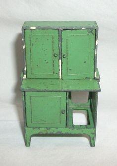 Vintage Metal Tootsietoy Dollhouse Furniture Hoosier Cabinet | eBay