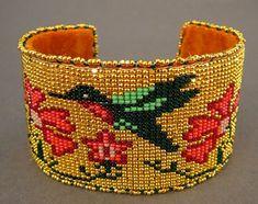 Native American Bracelets by Teri Greeves(Kiowa) at Home & Away Gallery Loom Bracelet Patterns, Bead Loom Patterns, Peyote Patterns, Beading Patterns, Beaded Cuff Bracelet, Bead Loom Bracelets, Beaded Jewelry, Native Beadwork, Native American Beadwork