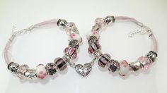 European Charm Bracelet OOAK Handmade Matching Best Friends lampwork murano glass bead leather and ribbon Rhinestone & Tibetan silver charms by BekisBeads on Etsy