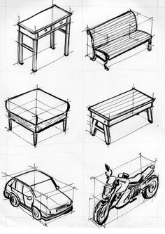 Exercises for 2 and 3 vanishing points - conical perspective - 6 - Exercises for 2 and 3 van Interior Design Sketches, Industrial Design Sketch, Sketch Design, 3d Design, Perspective Drawing Lessons, Perspective Art, Basic Drawing, Technical Drawing, Drawing Furniture