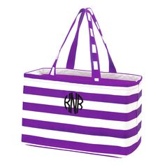 purple initials ultimate tote.jpg Monogram totes on sale just in time for Christmas. 8 colors available. #monogram #totes #Christmas #teamcolors