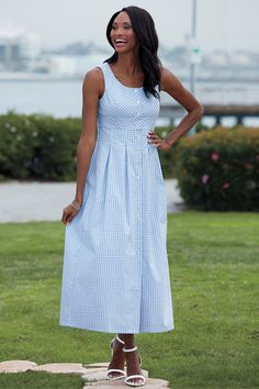 Button Front Gingham Check Dress - Chadwicks