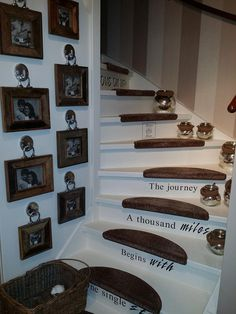 Great idea for stairs and picture wall. I love the frame hardware Source by Coastal Farmhouse, Farmhouse Decor, Cottage Farmhouse, Picture Wall, Picture Frames, Rivera Maison, House Stairs, Coastal Style, Basement Remodeling
